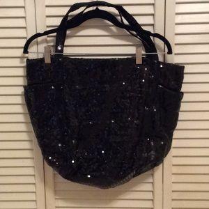 GAP Full Sequin Black Tote Travel Shopper Bag